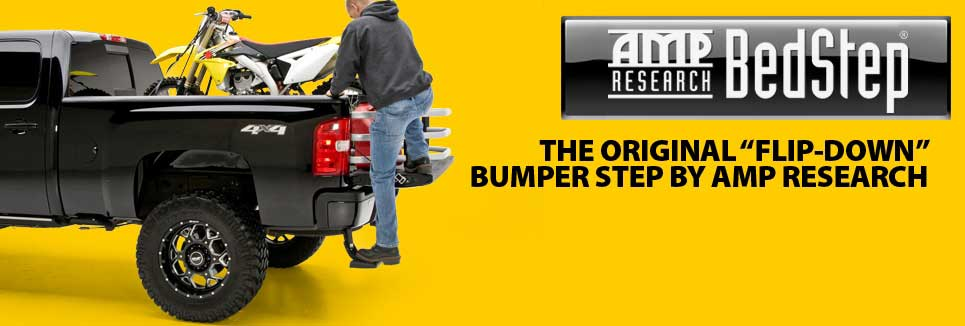 AMP Research BedStep by ElectricStep.com is a single step used to help get in and out of the rear of your truck with the simplicity of the raise of your foot. Made in the USA, this step is built to last.